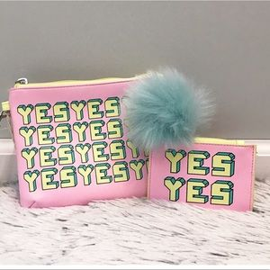 "NWT Mossimo Pink ""YES"" cosmetic & coin pouches"